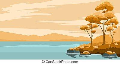 paysage automne, lac