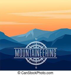 paysage, bleu, vecteur, montagnes., silhouettes
