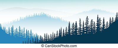 paysage., brume, crépuscule, lointain, collines, vallée, forêt, arbres, brouillard, montagnes, sapin, montagne