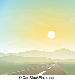 paysage brumeux, route