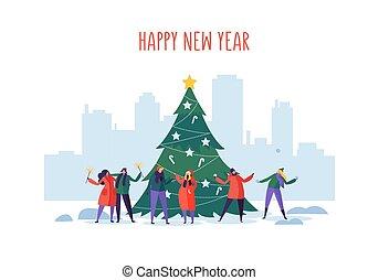 paysage., city., hiver, gens, celebrating., plat, fetes, vecteur, noël, illustration, caractères, année, cityscape, fête, nouveau, noël, urbain