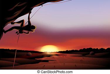 paysage, coucher soleil, désert