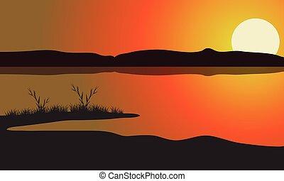 paysage, coucher soleil, lac