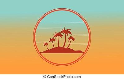 paysage, coucher soleil, silhouette, île