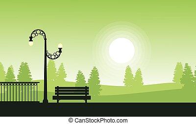 paysage, coucher soleil, silhouette, jardin