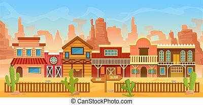 paysage, désert, maison, maisons, américain, vieux, banque, dessin animé, occidental, ou, barre, bar, paysage, ville
