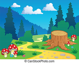 paysage, dessin animé, 7, forêt