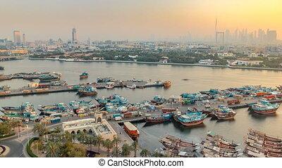 paysage, dubai, coucher soleil, timelapse, bateaux, bateau, port, fond, ruisseau, bâtiments, moderne, pendant