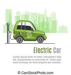 paysage, electromobile, toile, eco, vecteur, template., voiture, ville, écologique, batterie, vert, e-car, bâtiments., actionné, urbain, électrique, auto