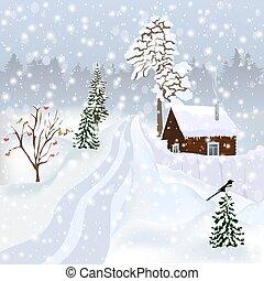 paysage, etc., affiche, album, hiver, russe, carte postale