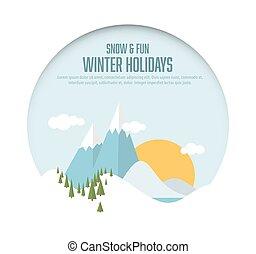 paysage, fetes, hiver, carte, neigeux