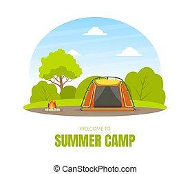 paysage, forêt, été, illustration, touriste, vecteur, tente, camp