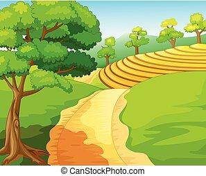 paysage, frais, dessin animé, forêt, village