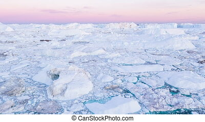 paysage, glacier, -, iceberg, aérien, groenland, nature, arctique, vidéo