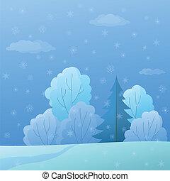 paysage hiver, bord, forêt, jour
