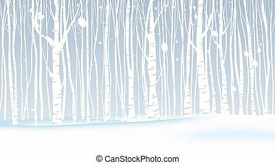 paysage, hiver, chute neige, forêt