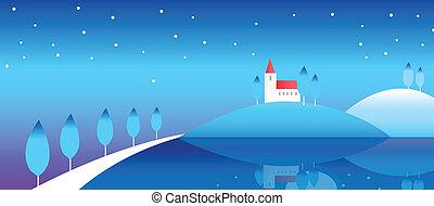 paysage hiver, maison, colline