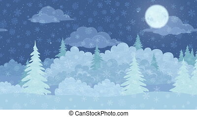 paysage, hiver, seamless, forêt, noël, boucle