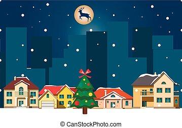 paysage., houses., fond, hiver, noël