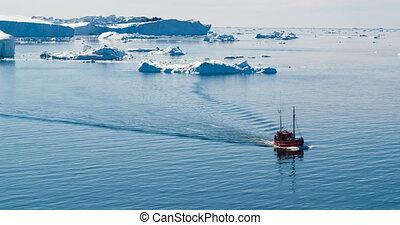 paysage, icebergs, iceberg, icefjord, touriste, groenland, ilulissat, bateau