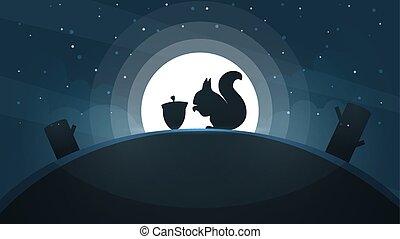 paysage., illustration., étoile, moon., arbre, papier, colline, dessin animé, écureuil