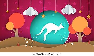 paysage., illustration., kangourou, star., arbre, papier, soleil, nuage, dessin animé