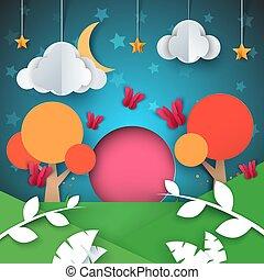 paysage., illustration., lune, étoile, arbre, papier, nuage, dessin animé