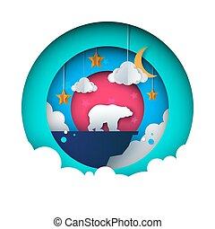 paysage., illustration., lune, étoile, ours, papier, nuage, mountain., dessin animé