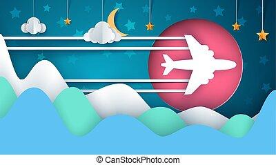 paysage., illustration., lune, étoile, papier, mountan., avion, nuage, dessin animé