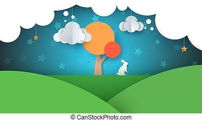 paysage., illustration., star., arbre, papier, lapin, nuage, dessin animé, ciel