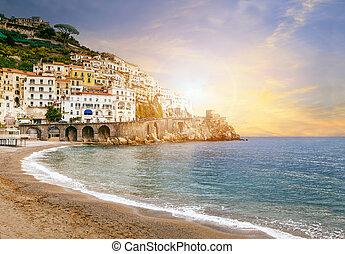 paysage, important, amalfi, italie, mer, destination, sud, europe, côte, méditerranéen, voyager, beau