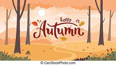 paysage., lettering., plat, paysage, vecteur, style, campagne, automne, illustration
