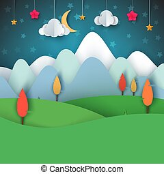 paysage., lune, étoile, arbre, papier, nuage, dessin animé