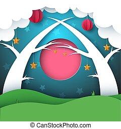 paysage., lune, papier, arbre., forêt, soleil, nuit, nuage, dessin animé