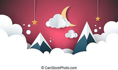 paysage., lune, star., papier, nuage, dessin animé, montagne