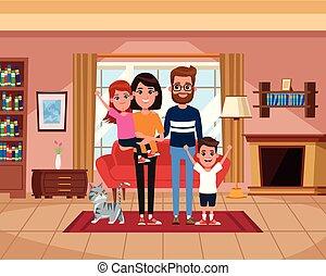 paysage, maison, intérieur, dessins animés, famille
