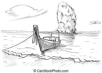 paysage, marine, long, main, rocher, queue, thaïlande, dessiné, bateau