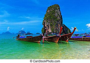 paysage., mer, nature, voyage, exotique, cout, fond, thaïlande