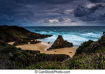 paysage, mer, sur, orageux, impressionnant, côtier, piles, cieux