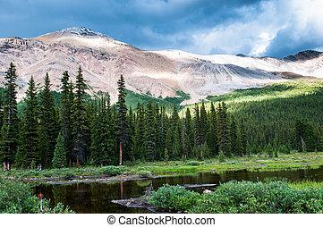 paysage, montagne, banff parc national, petit, étang