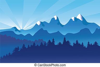 paysage montagne, neige, alpin