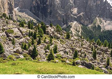 paysage, montagne, rocheux, arbre, paysage vert
