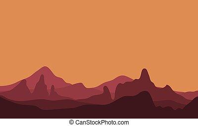 paysage, montagne, silhouette