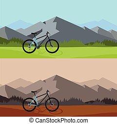 paysage montagne, vélo, nature, arrière-plan., sauvage, équitation
