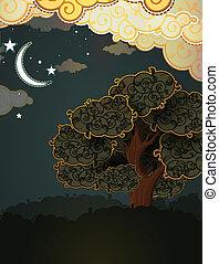 paysage., moon., nuages, dessin animé, arbre