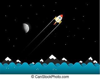 paysage., moon., vector., fusée, nuit
