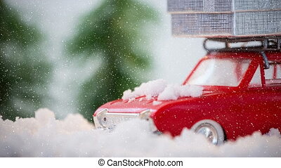paysage, neige, hiver, tomber, combiné, modèle, voiture rouge