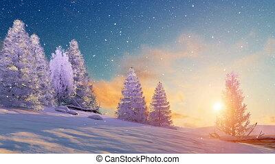 paysage, neigeux, coucher soleil, 4k, hiver