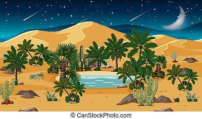 paysage, nuit, forêt, scène désertique, oasis
