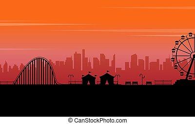 paysage, parc, silhouette, coucher soleil